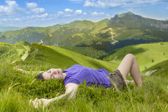 Enjoying the mountains Royalty Free Stock Images