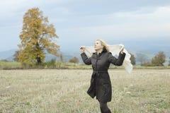 Enjoying mountin. Young woman enjoy outdoors and beautiful landscape Stock Photo