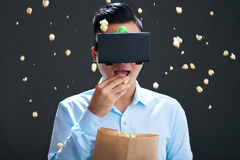 Enjoying movie in virtual reality Royalty Free Stock Photo