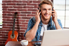 Enjoying music. Royalty Free Stock Photo
