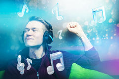 Enjoying music Stock Image
