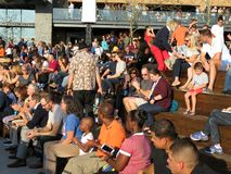 Enjoying the Music at the Wharf stock photography