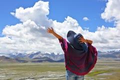 Enjoying the nature. A woman is enjoying the nature Stock Image