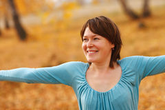 Enjoying the nature. Young woman arms raised enjoying the fresh Royalty Free Stock Photo