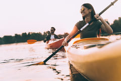 Free Enjoying Nice Time On River Together. Stock Images - 78012644