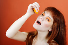 Enjoying of orange Royalty Free Stock Photo
