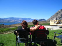 Enjoying our wine. Digital, macro setting. A view overlooking the Osoyoos lake, bc canada royalty free stock photography