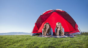 Enjoying the Outdoors - Wide Angle. A wide angle photo of two women enjoying a day camping in the outdoors Stock Photography