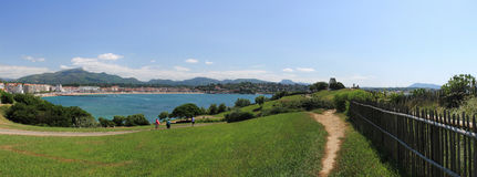 Enjoying panoramic view of beautiful bay of saint jean de luz with mountain la rhune on atlantic coast Royalty Free Stock Images