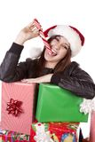 Enjoying peppermint and presents Stock Image