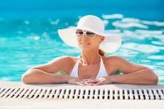 Enjoying in the pool Royalty Free Stock Image