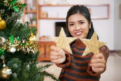 Enjoying preparing for Christmas royalty free stock photo