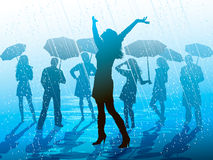 Enjoying the rain. Men and women enjoying the rain Stock Images