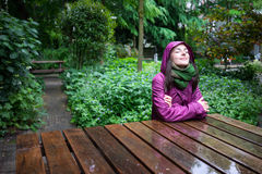 Enjoying the rain in nature Stock Photo