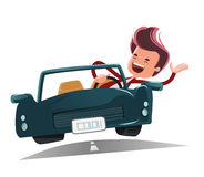 Enjoying the ride  illustration cartoon character Royalty Free Stock Photo