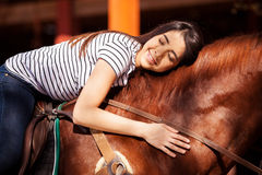 Enjoying a ride with my horse Stock Image