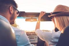 Enjoying road trip together. stock photo