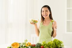 Enjoying salad Royalty Free Stock Photo