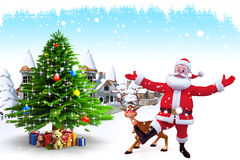 Enjoying santa claus with deer and christmas tree Stock Photo