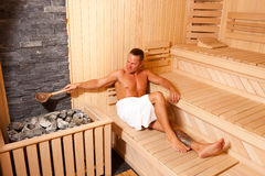 Enjoying In Sauna Stock Photography