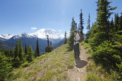 Enjoying the scenic view. Hiking trail. Mt Rainer, Washington Stock Photos