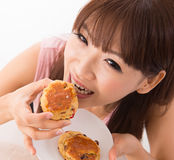 Enjoying scones Royalty Free Stock Photos