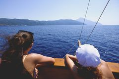 Enjoying a sea cruise to Mount Athos royalty free stock image