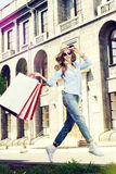 Enjoying shopping royalty free stock photos