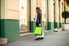 Enjoying shopping, look for new sales Stock Photos