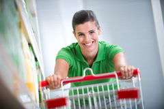 Enjoying shopping at supermarket Stock Photo