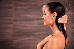 Enjoying a shower. Royalty Free Stock Photography