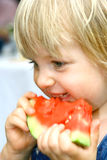 Enjoying a slice of watermelon Royalty Free Stock Photo