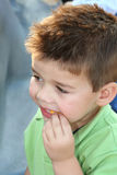 Enjoying A Snack. Young boy eating a snack outdoors royalty free stock images