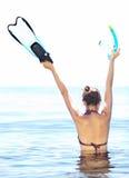 Enjoying snorkling Stock Images