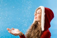Enjoying snowfall Royalty Free Stock Images