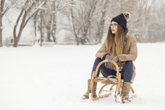 Enjoying snowy winter day Stock Photo
