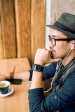 Enjoying some music and coffee Stock Photography
