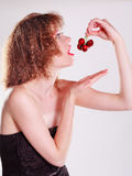 Enjoying some ripe and delicious cherries Royalty Free Stock Image