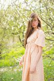 Enjoying springtime. Natural beauty and spa therapy. Summer girl with long hair. Spring woman. Springtime and vacation stock image