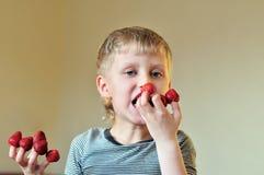 Enjoying of strawberry Stock Photos
