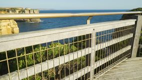 Enjoying the stunning view from a lookout at Twelve Apostles in Australia stock footage