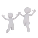 Enjoying success concept. Two faceless cartoon characters happily jumping with hands up, 3D render isolated on white background Stock Photography