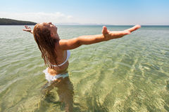 Enjoying summer on the beach Stock Photos