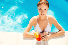 Enjoying summer at the pool. Royalty Free Stock Images