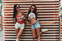 Enjoying summer refreshments. Two attractive young women smiling and eating ice cream while standing against the wooden wall outdoors stock photo