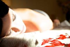 Enjoying the sun in spa Royalty Free Stock Image