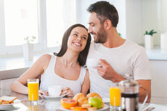 Enjoying Sunday morning together. Stock Photography