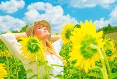 Free Enjoying Sunflower Field Royalty Free Stock Image - 43082646