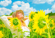Enjoying sunflower field Royalty Free Stock Image