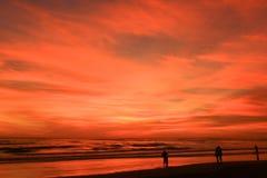 Enjoying sunset. People enjoying sunset at Parangtritis Beach, Yogyakarta, Indonesia Royalty Free Stock Images